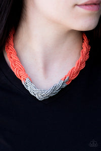 Brazilian Brilliance Orange Paparazzi Necklace - JewelTonez Jewelry