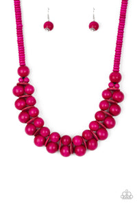 Caribbean Cover Girl Pink Wood Bead Necklace - Paparazzi Accessories Necklace set - Paparazzi Accessories