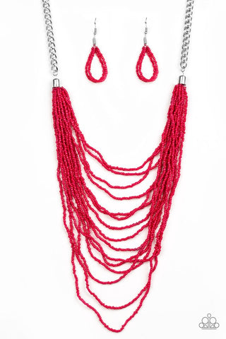 Bora Bombora Red Seed Bead Necklace - Paparazzi Accessories Necklace set - Paparazzi Accessories