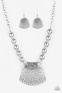 Large And In Charge Silver Necklace - Paparazzi Accessories Necklace set - Paparazzi Accessories