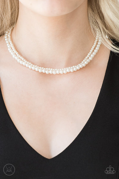 Ladies Choice White Pearl Choker Paparazzi Necklace - JewelTonez Jewelry