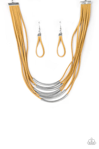 Walk The Walkabout - Yellow Necklace set - Paparazzi Accessories
