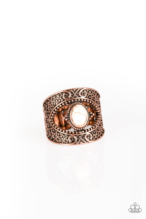 Rural Relic Copper Stone Ring - Paparazzi Accessories Ring - Paparazzi Accessories