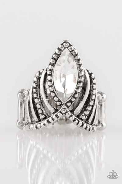 Here's Your Crown White Paparazzi Ring - JewelTonez Jewelry