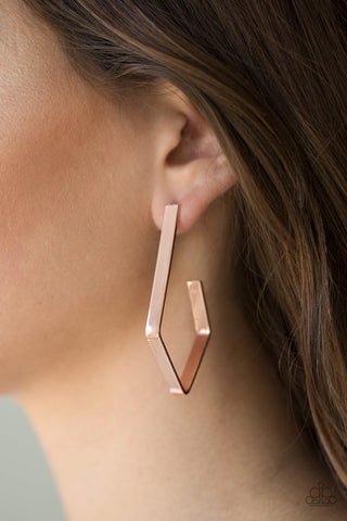 JewelTonez Geo Grand Copper Hoop Earrings - Paparazzi