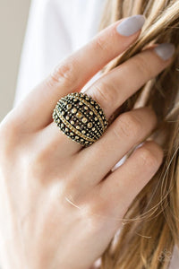 Up In Armor Brass Paparazzi Ring JewelTonez Jewelry