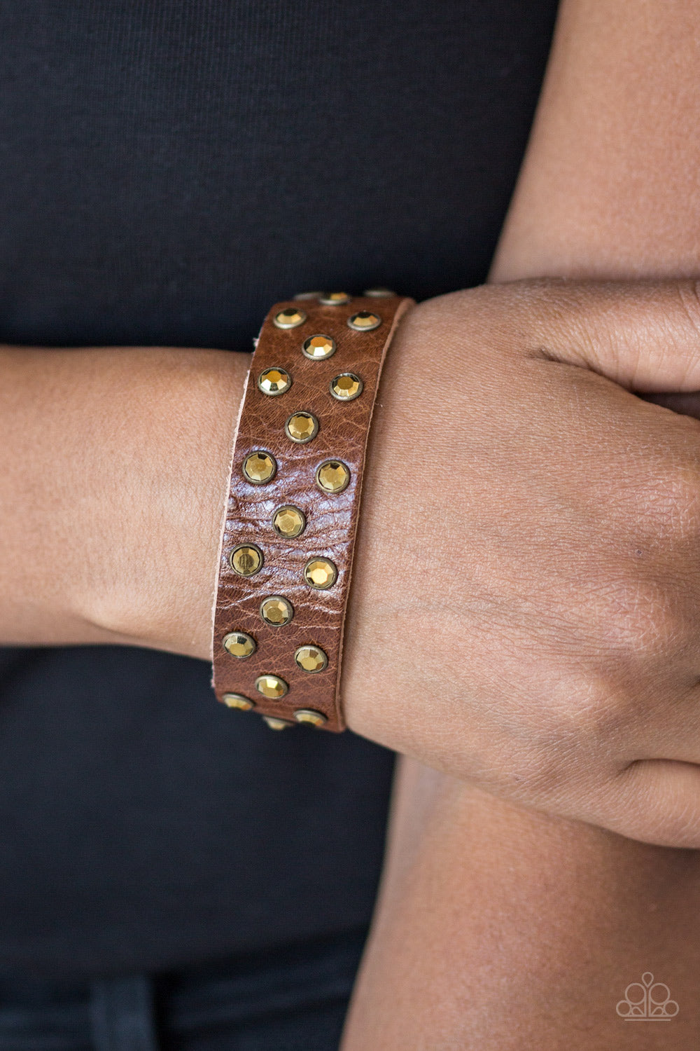 Shine On You Crazy Diamond Brass Leather Paparazzi Bracelet - JewelTonez Jewelry