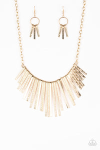 Welcome To The Pack Gold Fringe Necklace - Paparazzi Accessories Necklace set - Paparazzi Jewelry Necklace set