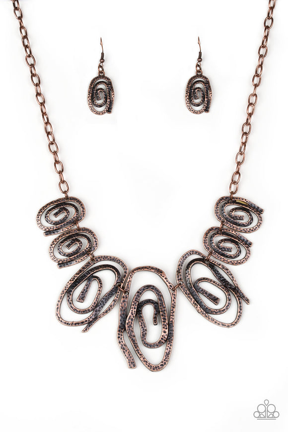 My Cave Is Your Cave Copper Necklace - Paparazzi Accessories Necklace set - Paparazzi Accessories