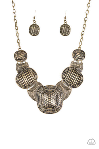Prehistorical Powerhouse - Brass Necklace set - Paparazzi Accessories