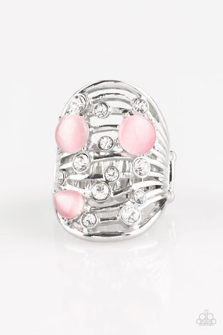Clear The Sway Pink Silver Ring - Paparazzi - JewelTonez Jewelry