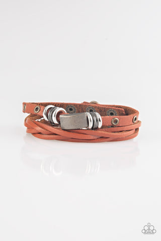 Road Rally  Men's Brown Leather Urban Bracelet - Paparazzi Accessories Necklace set - Paparazzi Accessories