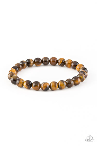 Centered Brown Paparazzi Bracelet - JewelTonez Jewelry