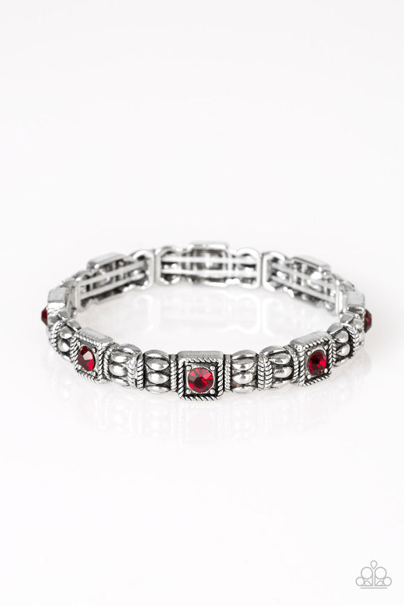 Metro Marvelous Red Rhinestone Bracelets - Paparazzi Jewelry Bracelets Bracelet - Paparazzi Accessories