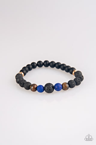 Remedy Multicolored Black Blue Lava Bead Bracelets - Paparazzi Accessories Bracelet - Paparazzi Accessories
