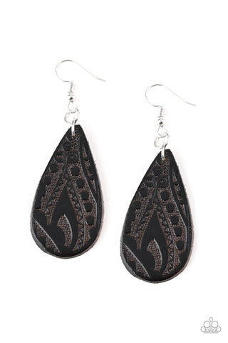 Get In The Groove Black Wooden Earrings - Paparazzi Accessories Earrings - Paparazzi Accessories