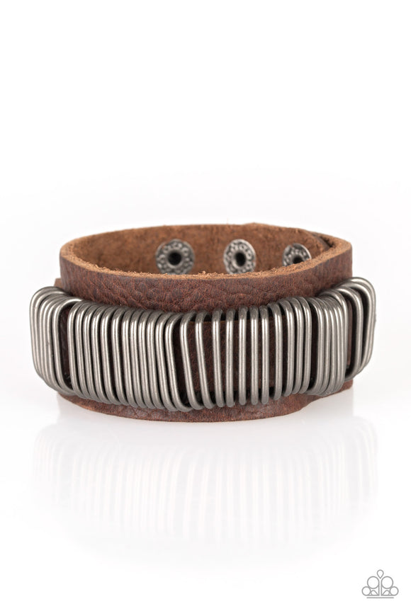 Boondocks Bandit Men's Brown Leather Urban Bracelet - Paparazzi Accessories Bracelet - Paparazzi Accessories