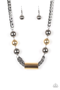 All About Attitude Black Gold Necklace - paparazzi Accessories Necklace set - Paparazzi Accessories