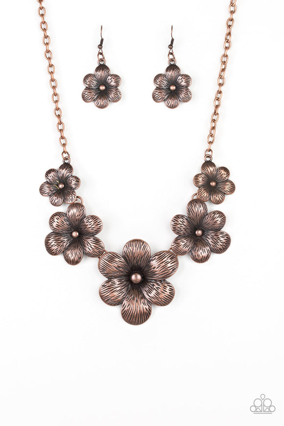 Secret Garden Copper Flower Necklace - Paparazzi Jewelry Necklaces Necklace set - Paparazzi Jewelry Necklace set