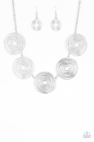 Sol-Mates Silver Necklace - Paparazzi Accessories Necklace set - Paparazzi Accessories