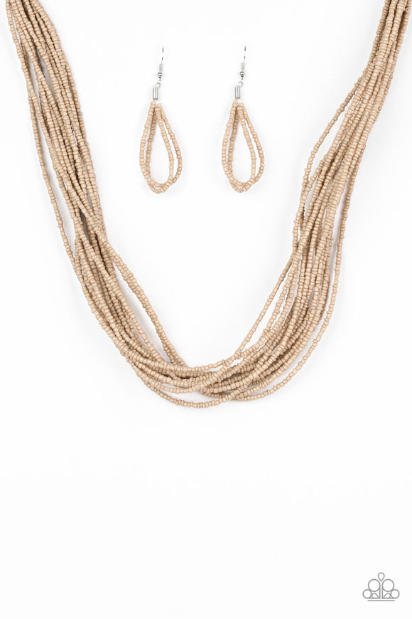 Wide Open Spaces - Brown Necklace set - Paparazzi Jewelry Necklace set