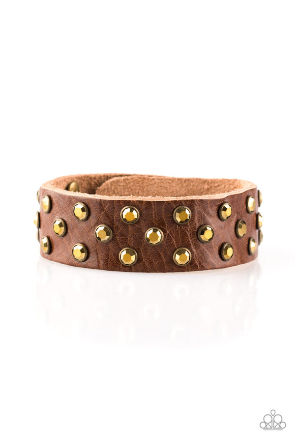 Shine On You Crazy Diamond Brass Rhinestone Leather Urban - Paparazzi Accessories Bracelet - Paparazzi Accessories