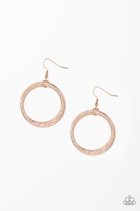 Wildly Wild Lust Rose Gold Asymmetrical Hoop - Paparazzi Jewelry Earrings Earrings - Paparazzi Jewelry Earrings