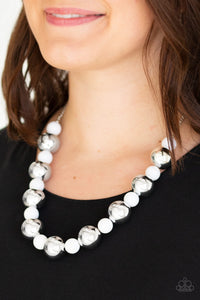 Top Pop White Paparazzi Necklace - JewelTonez Jewelry