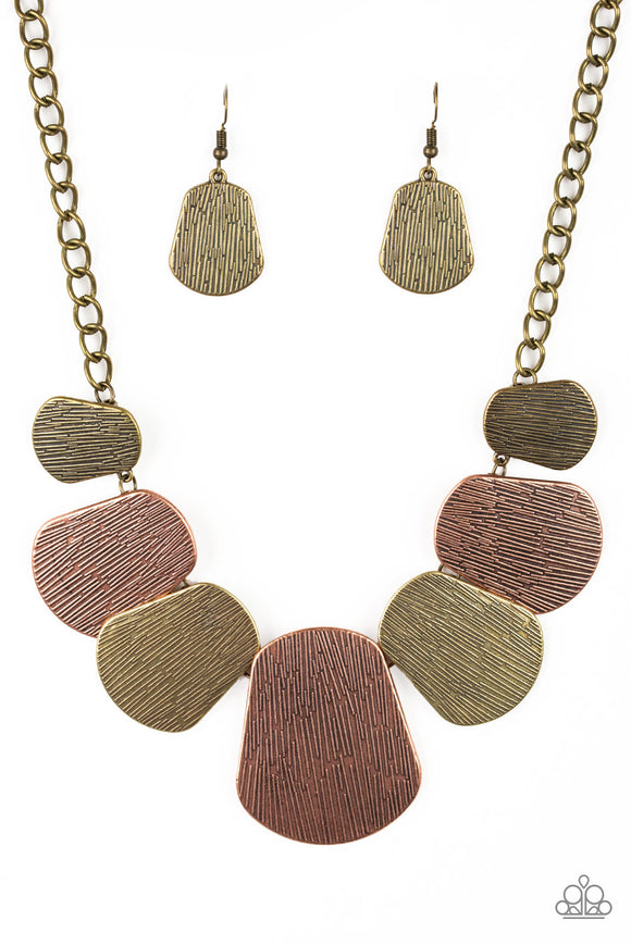CAVE The Day Copper Brass Necklace - Paparazzi Accessories Necklace set - Paparazzi Accessories