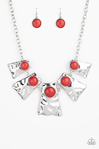 Cougar Red Silver Necklace - Paparazzi Accessories Necklace set - Paparazzi Accessories