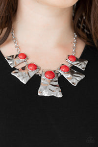 Cougar Red Silver Paparazzi Necklace - JewelTonez Jewelry
