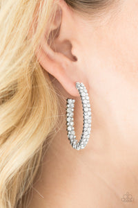 Debonair Dazzle White Paparazzi Earrings - JewelTonez Jewelry