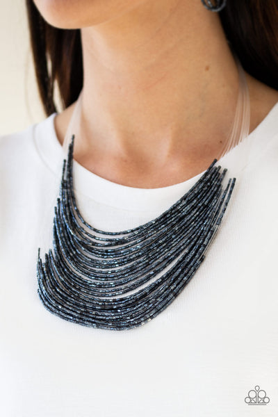 Catwalk Queen Blue Necklace Paparazzi - JewelTonez Jewelry