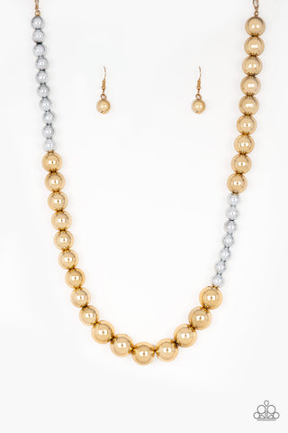 JewelTonez Power To The People Gold Silver Pearl Necklace - Paparazzi