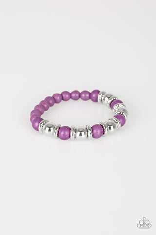 Across The Mesa Purple and Silver Bracelets - Paparazzi Accessories Bracelet - Paparazzi Accessories