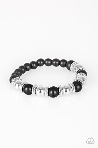 Across The Mesa Black and Silver Bracelet - Paparazzi Accessories Bracelet - Paparazzi Accessories