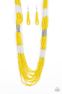 Let It Bad Yellow Seed Bead Necklace - Paparazzi