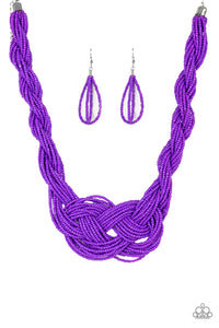 A Standing Ovation Purple Seed Bead Necklace - Paparazzi Accessories Necklace set - Paparazzi Accessories