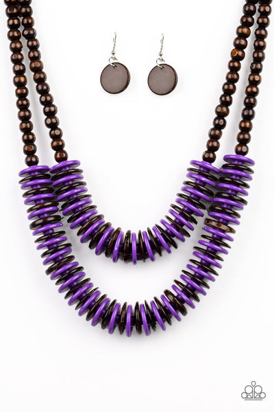 Dominican Disco Purple Paparazzi Necklace - JewelTonez Jewelry