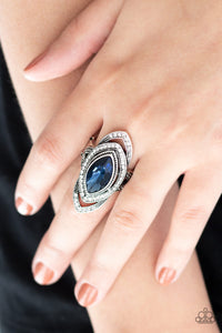 Hot Off The EMPRESS Blue Paparazzi Ring - JewelTonez Jewelry