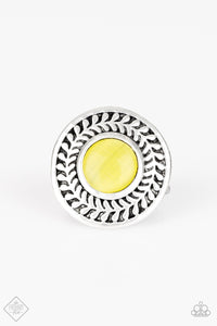 Garden Garland Yellow Cats Eye Ring - Paparazzi Accessories Ring - Paparazzi Accessories