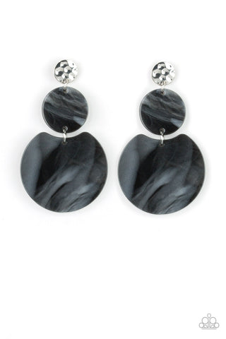 Miami Mariner Black Hammered Shell Earring - Paparazzi Accessories Earrings - Paparazzi Accessories