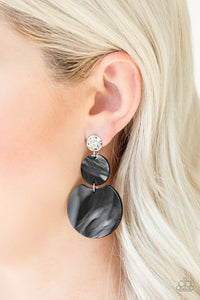 Miami Mariner Black Shell Paparazzi Earring - JewelTonez Jewelry