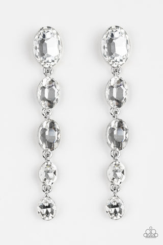 Red Carpet Radiance White Rhinestone Waterfall Post Earrings Earrings - Paparazzi Accessories