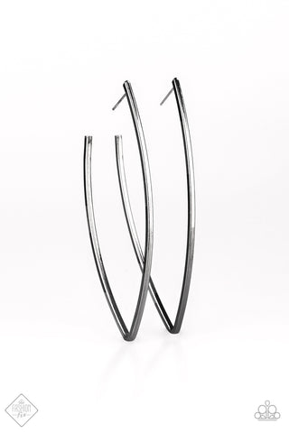 Nothing But Trouble Magnificent Musings Gunmetal Asymmetrical Hoops - Paparazzi Jewelry Earrings Earrings - Paparazzi Accessories