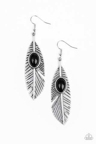 Quill Thrill Black Earrings - Paparazzi