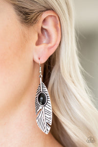 Quill Thrill Black Paparazzi Earrings - JewelTonez Jewelry