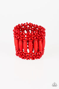 Barbados Beach Club Red Wooden Bracelet - Paparazzi Accessories Bracelet - Paparazzi Accessories