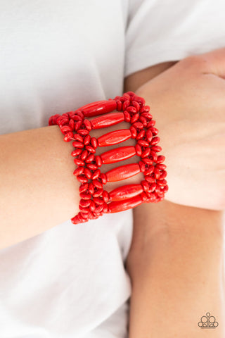 Barbados Beach Club Red Paparazzi Bracelet - JewelTonez Jewelry