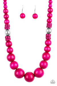 Panama Panorama Pink Wood Beads Necklace - Paparazzi Accessories Necklace set - Paparazzi Accessories